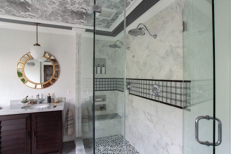 completed walk in shower with frameless glass shower enclosure