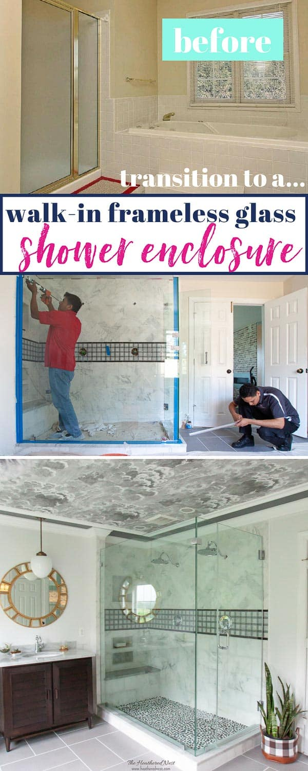 Thinking of a bathroom renovation and trying out a frameless glass enclosure? Here's how one such remodel turned out! Space has walk in shower with dual showerheads and a frameless glass shower enclosure. #walkinshower #showerideasbathroom #masterbathroomideas #dualshowerheads #showerideasbathroomluxury #walkinshowerwithbench #framelessglass #framelessglassshowerdoors #showerenclosure #waterfallshowerheads #showerglass