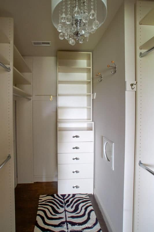 old master closet before master bathroom renovation. This space becomes the walk in shower with frameless glass enclosure.