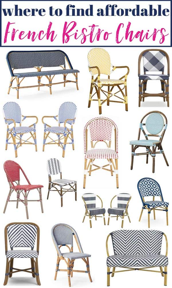 43 Gorgeous Bistro Chairs Anywhere! These Range in Color, Pattern and Price. Makes it easy to compare! #bistrochair #frenchbistrochair #bistrochairs #frenchbistrochairs