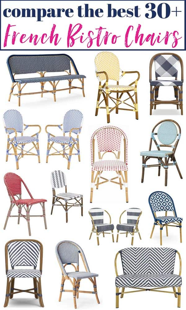 43 Prettiest French Bistro Chairs Currently Available To Buy! Ranging in color, patterns and price points, this is the best roundup of french bistro chairs around! Makes it easy to compare! #bistrochair #frenchbistrochair #bistrochairs #frenchbistrochairs #affordablebistrochairs #outdoorbistrochairs #wovenchairs #affordablefrenchbistrochairs
