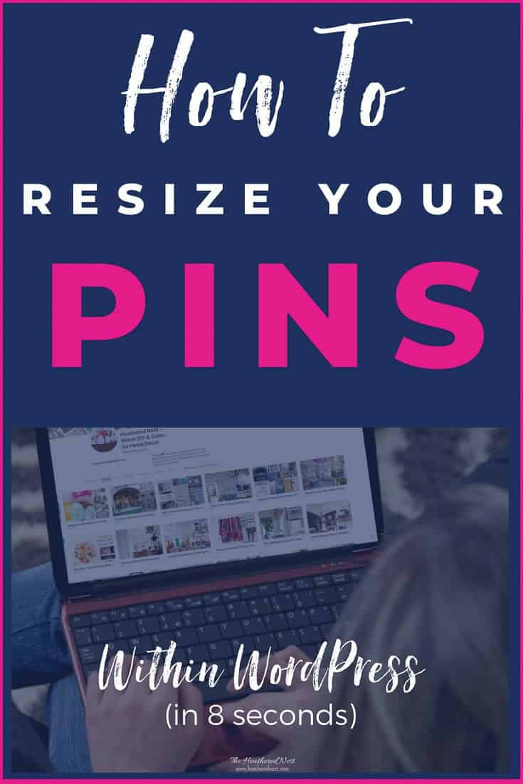 Have a Pinterest Pin (or LOTS of Pinterest Pins) that is too tall for the newest best practices? Here's how to quickly resize your Pinterest Pins without leaving WordPress! Don't recreate your pins from scratch! You can optimize the size of your pins in seconds with this easy DIY wordpress tip. #wordpresstips #pinteresttips #howtoresizeapinterestpin #howtomaketheidealpin #howtocreatetheperfectpin #howtomaketheperfectpinterestpin