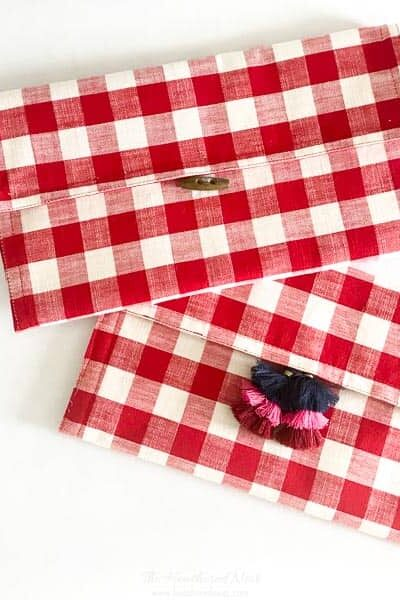 DIY red clutch bag (from a buffalo plaid placemat).