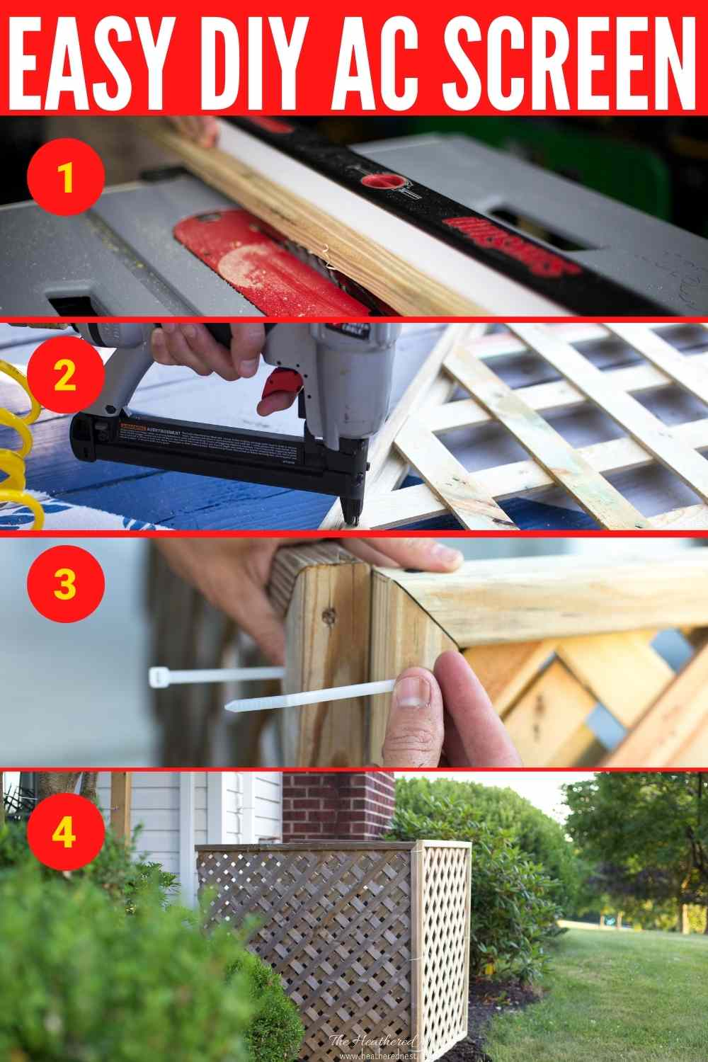 Easy DIY AC Screen with four steps of the tutorial highlighted