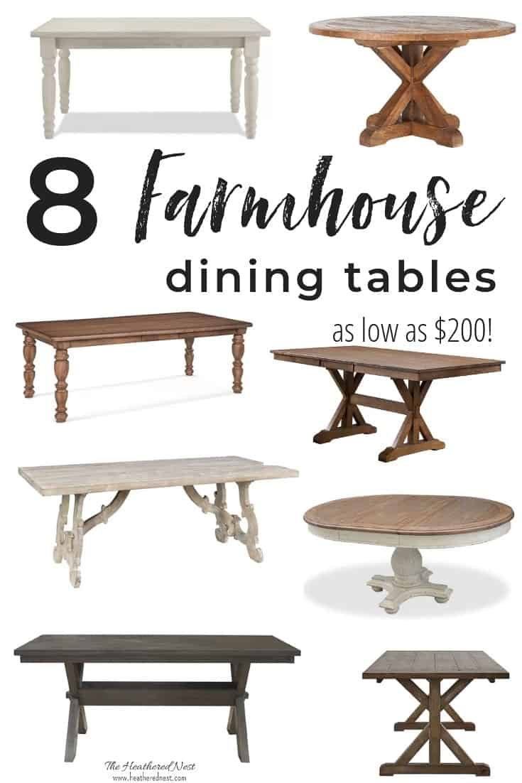 8 farmhouse tables - perfect dining tables for lovers of farmhouse decor #farmhousestyle #farmhousedecor #farmhousetables #farmhousediningroomtables #farmhousediningtable #farmhousechic #joannagainestables #farmhousediningroomideas #farmhousediningideas #farmhousediningtableoptions #farmdiningtables #farmhousedecorideas #farmhousedecortables