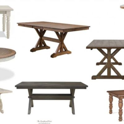 8 farmhouse tables - perfect dining tables for lovers of farmhouse decor #farmhousestyle #farmhousedecor #farmhousetables #farmhousediningroomtables #farmhousediningtable #farmhousechic