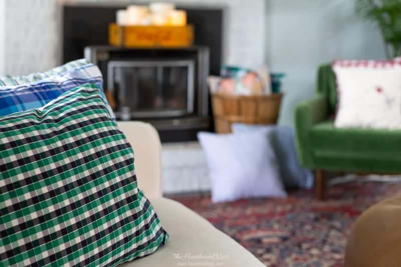 20-min recycled shirt DIY plaid pillows! Perfect for fall 🍁 and a great upcycle project. #plaid #easyfalldecoratingideas #DIYpillows #plaiddecor #tartanplaiddecor #DIYfalldecor #easypillowsdiy #mensshirtpillowshams #shirtupcyclepillow #DIYshirtpillowcover #flannelshirtpillowcover
