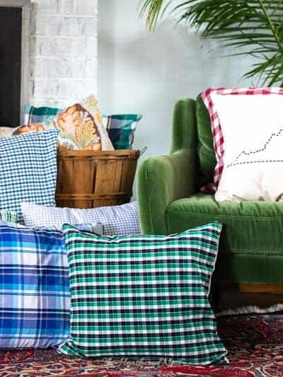 Recycled Shirt Plaid DIY Pillow Cover