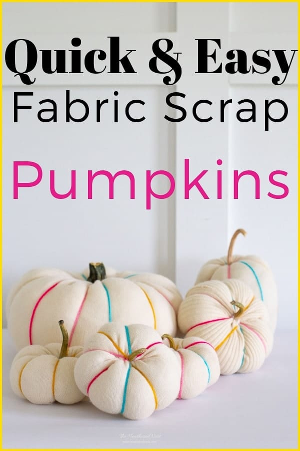 You can make scrap fabric pumpkins in 3-min, or about 20 w/the spines! Full tutorial & perfect for almost any fabric scrap!! Such a fun fall craft to try this autumn & Halloween! #fabricpumpkin #fabricpumpkins #DIYpumpkinidea #DIY #DIYpumpkincraftidea #pumpkincraft #sweaterpumpkin #upcycledpumpkin #scrapfabricideas #oldsweaterpumpkin #howtomakeafabricpumpkin #easyfallcraft #easyfallcraftideas #easypumpkincraft #nocarvepumpkinideas #nocarvepumpkinidea #pumpkin #pumpkins