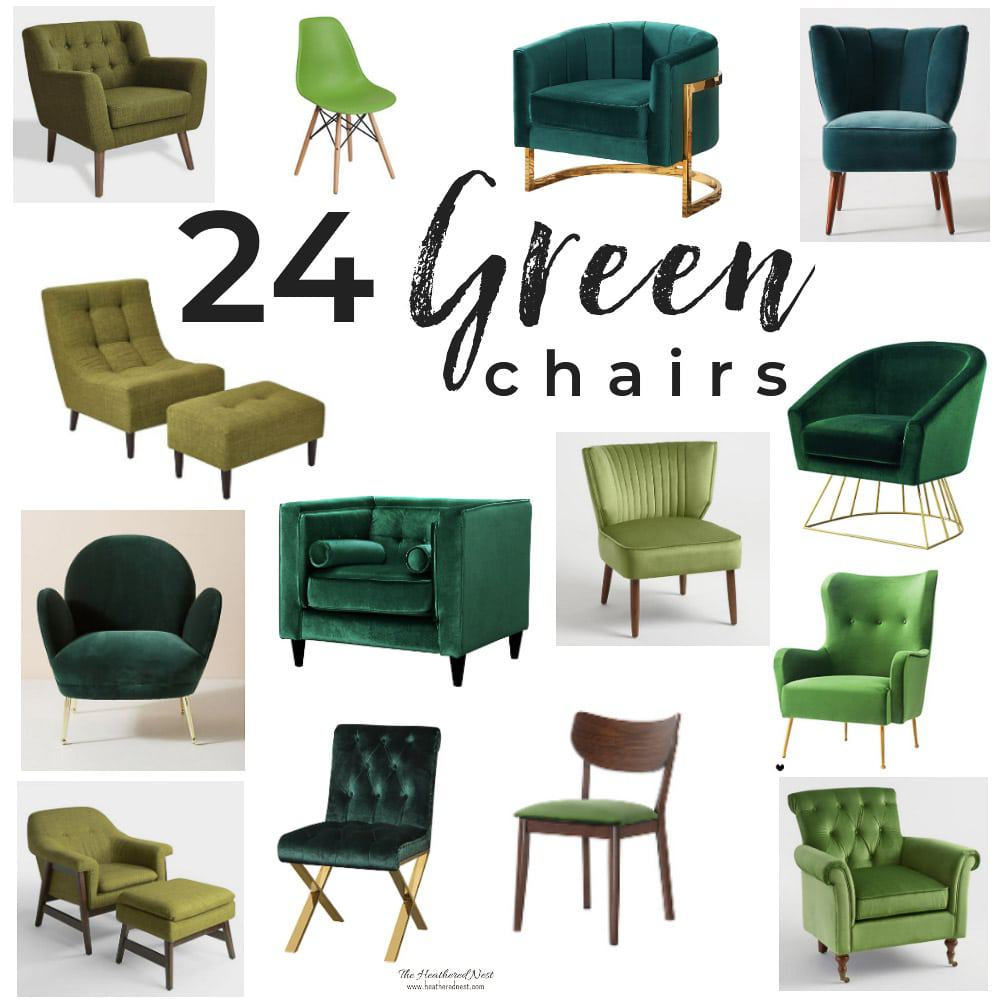 24 Amazing Green Chair Options! Green is a glamorous jewel tone to bring into your living room or other space at home! #greenchairlivingroom #greenvelvetchair #greenvelvetchairs #colorfullivingroom #greenchairlivingroom #greenarmchair #greenaccentchair #shoppingguide #heatherednest #colorfulchair #colorfulchairtrend #popular #greenarmchairs #greenaccentchairs #midcenturychair