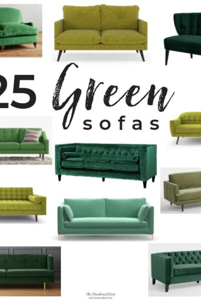 25 Gorgeous Green Sofa Options! Green is a glamorous jewel tone to bring into your living room! #greencouchlivingroom #greenvelvetsofa #greenvelvetcouch #colorfullivingroom #greensofalivingroom #greensofa #greencouch #shoppingguide #heatherednest #colorfulsofa #colorfulsofatrend #popular #velvetsofa #tuftedsofa