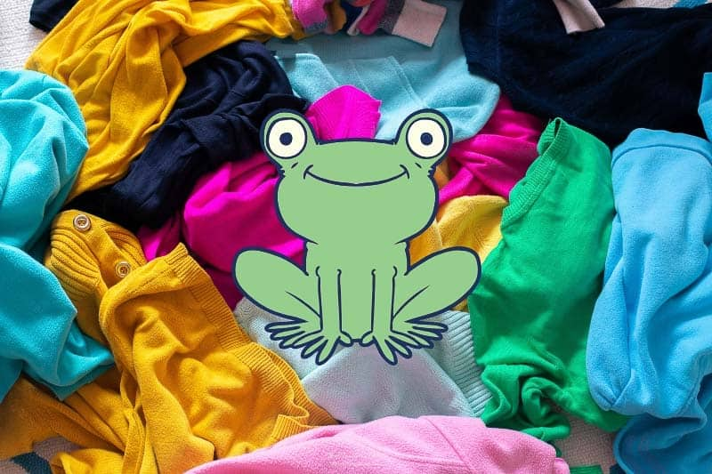 Image of pile of unfolded laundry/colorful sweaters with a frog illustration in middle. Empty storage unit. Renting an offsite storage unit can be a big help in the process of how to declutter. Clutter can always be stressful. But it may be especially paralyzing when you're preparing to sell your home. Here are 5 Tips to Help you Declutter #howtodeclutter #decluttering #sellingyourhome #declutteringhomefeelingoverwhelmed #declutteringhometosell #declutteringhometoselltips