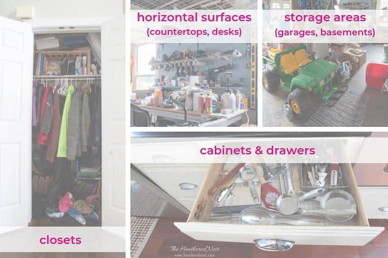 Collage of areas to focus on removing clutter in your home before selling. Tackling Clutter is always stressful. But it may be especially overwhelming when you're preparing to sell your home. Here are 5 Sure Fire Tips to Declutter & Get Your Home Sold! #howtodeclutter #decluttering #sellingyourhome #declutteringhomefeelingoverwhelmed #declutteringhometosell #declutteringhometoselltips #sellinghousetips