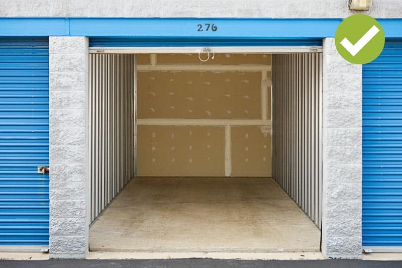 Empty storage unit. Renting an offsite storage unit can be a big help in the process of how to declutter. Clutter can always be stressful. But it may be especially paralyzing when you're preparing to sell your home. Here are 5 Tips to Help you Declutter #howtodeclutter #decluttering #sellingyourhome #declutteringhomefeelingoverwhelmed #declutteringhometosell #declutteringhometoselltips