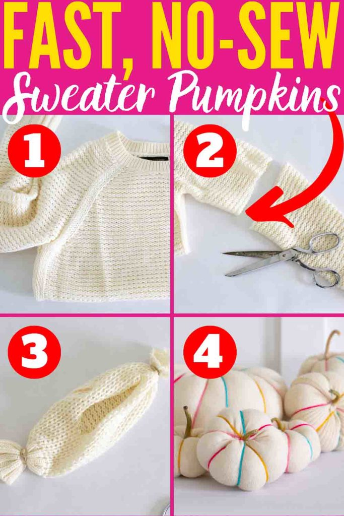 Quick and Easy DIY No-Sew Sweater Pumpkins Fall Craft!