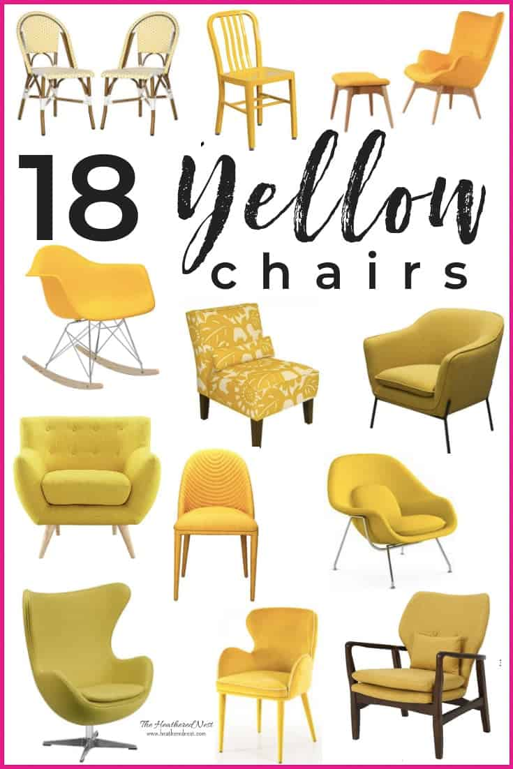18 amazing yellow chair options! Mustard chairs, gold chairs, midcentury modern chairs, bistro chairs...this is the most comprehensive yellow chair shopping guide around! #yellowchair #yellowchairs #shoppingguide #chairshoppingguide #affordablechairs #goldchair #mustardchair #mustardchairs #goldchairs #yellowarmchair #yellowaccentchair #yellowmidcenturymodernchair
