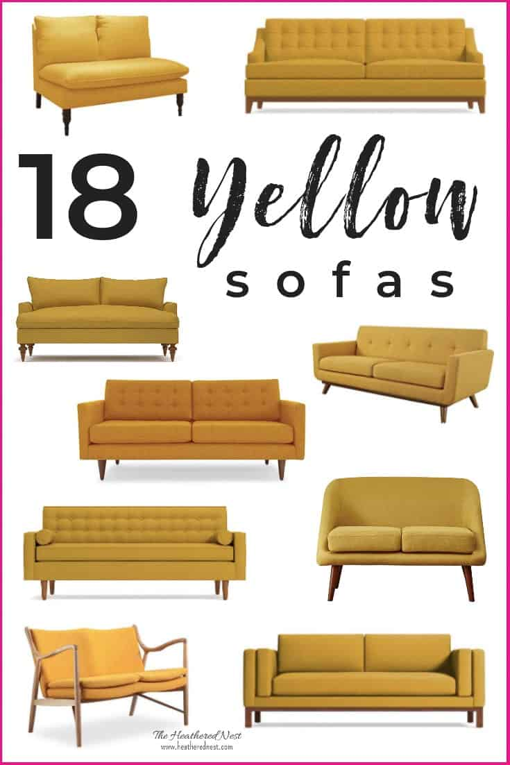 A Yellow Sofa Shopping Guide. 18 of the loveliest yellow sofas available. We scoured dozens of retailers to pull together this yellow couch collection. If you're in the market for a mustard sofa, gold loveseat, sunshiney settee, tufted yellow sofa or more, you'll find it here! #yellowsofa #yellowcouch #shoppingguide #yellowloveseat #goldsofa #mustardsofa #yellowsofas #mustardyellow #yellowaesthetic