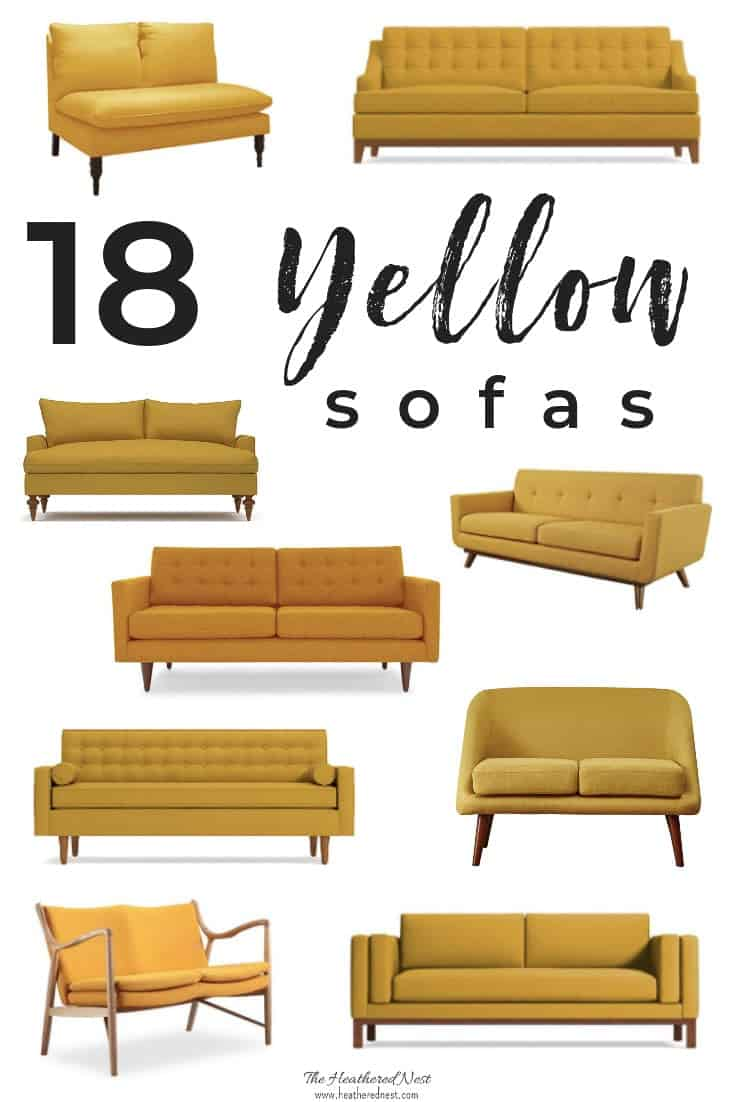 A Yellow Sofa Shopping Guide. 18 of the loveliest yellow sofas available. We scoured dozens of retailers to pull together this yellow couch collection. If you're in the market for a mustard sofa, gold loveseat or settee, you'll find it here! #yellowsofa #yellowcouch #shoppingguide #yellowloveseat #goldsofa #mustardsofa #yellowsofas