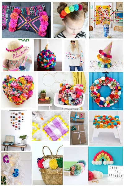 41 easy & adorable DIY pom pom crafts! From a pom pom rug to pom pom pillow, pom pom wreath, and all kinds of pom pom fashion, decorating and party projects, there is a pom pom idea here for EVERYONE! #pompom #pompomcrafts #pompomrug #pompomwreath #pompomgarland #pompomcraftsDIY #pompomdecor #pompomcraftschristmas #pompomcraftseasy #pompomcraftideas