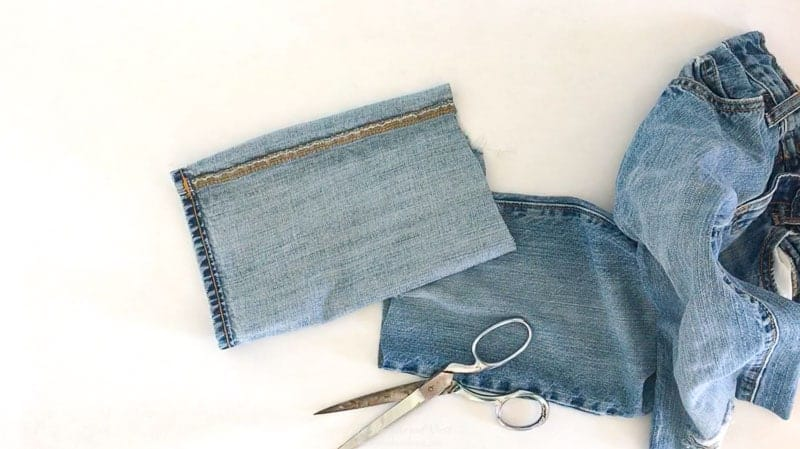 flip the denim leg inside out. step two for this cute pumpkin craft.