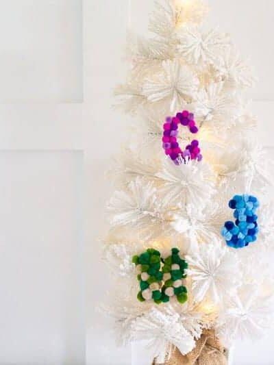 DIY Pom Pom Letter Ornaments