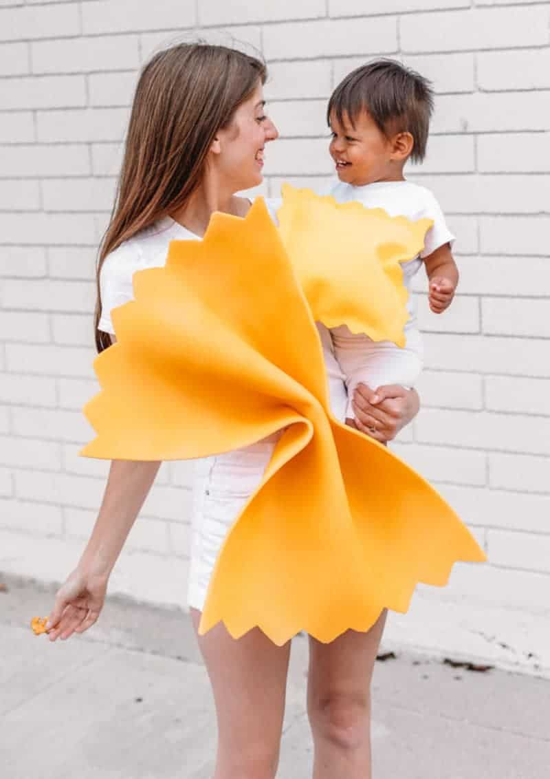 last minute halloween costume idea - mom and baby dressed as pasta noodles