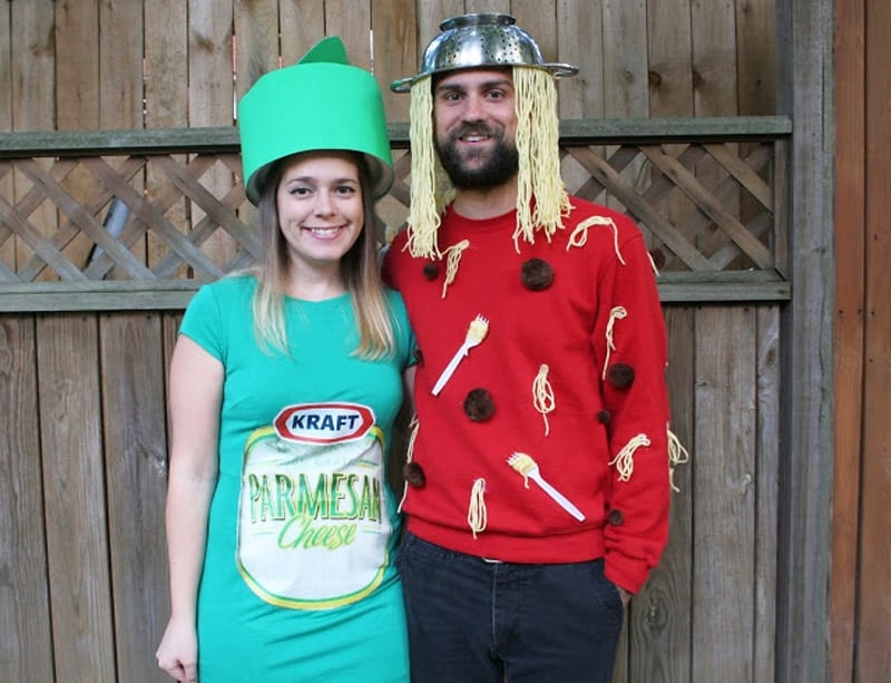 couple dressed as parmesan cheese and spaghetti last minute halloween costume