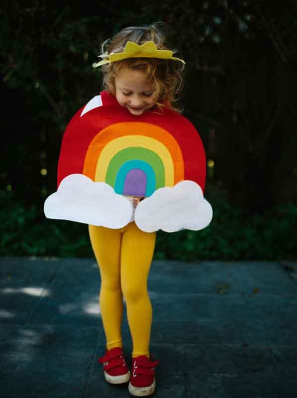 last minute halloween costume idea - little girl dressed as a rainbow