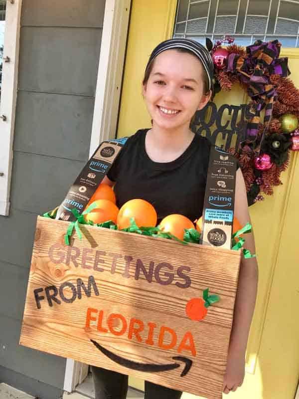 last minute halloween costume idea - crate of florida oranges