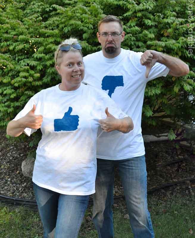 last minute halloween costume idea - facebook like and dislike