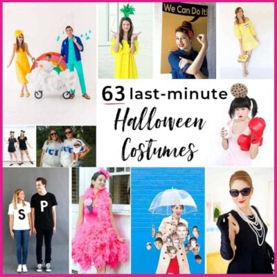 63 last minute halloween costumes that don't look like an afterthought. Family, couple, kids and adult costume ideas that you can put together in a flash.