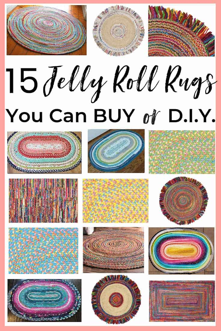 A jelly roll rug is a colorful & popular home decor item to buy OR DIY! Here are the best DIY tips & tutorials + the best jelly roll rugs available to buy! #jellyrollrug #jellyrollrugs #braidedrugs #jellyrolls #jellyrolltutorial #jellyrolltutorial