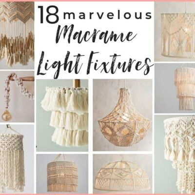 5 DIY macrame lighting projects +14 gorgeous macrame pendant lights you can buy! A shopping guide for the latest lighting craze. Macrame is popular for a good reason! These are ammmazzzing boho pendants! #macrame #boholighting #boholightingideas #macramelights #macramependantlight #macramependantlights #bohochic #bohochiclighting #macrameshoppingguide #macramelightshade #macramelightpendant #macramedecor