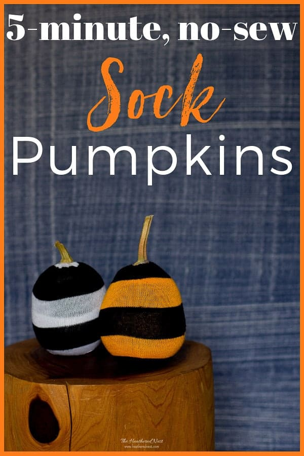 Great fall craft for kids! No sewing required. Make these 5-minute pumpkins from socks! #DIY #pumpkins #socks #nosew #fallcraft #craftsforkids #sockpumpkin #sockcraft #oldsocks #usedsocks #popularpumpkinideas #fabricpumpkins #howtomakefabricpumpkins #upcycle #reuse #repurpose ##DIYpumpkin #DIYfallcraft