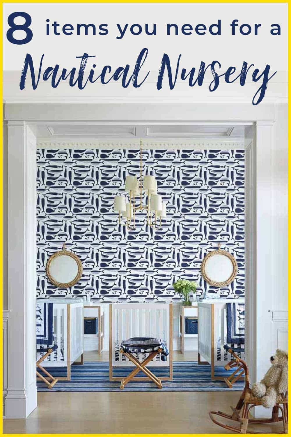 Get inspiration for your nautical nursery with 8 tips for creating a gorgeous gender-neutral room for baby. #serenaandlily #nurseryinspiration #nurseryideas #nauticalnursery