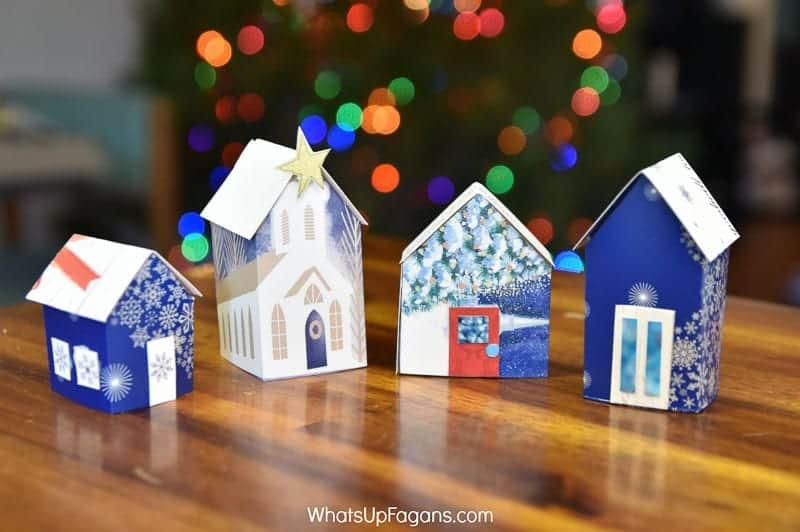 upcycled Christmas card mini houses