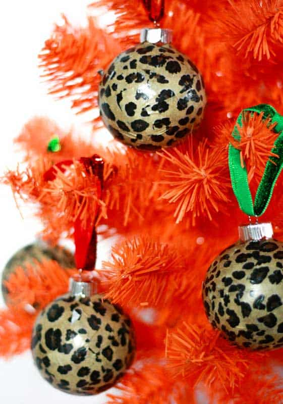 painted animal print ornaments