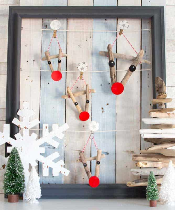 driftwood reindeer ornaments