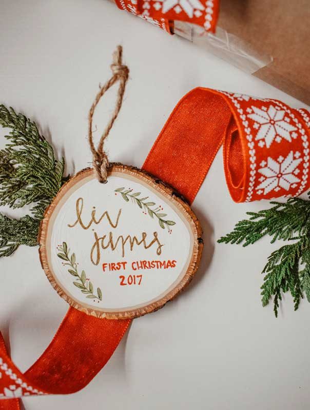 first christmas wood slice ornaments