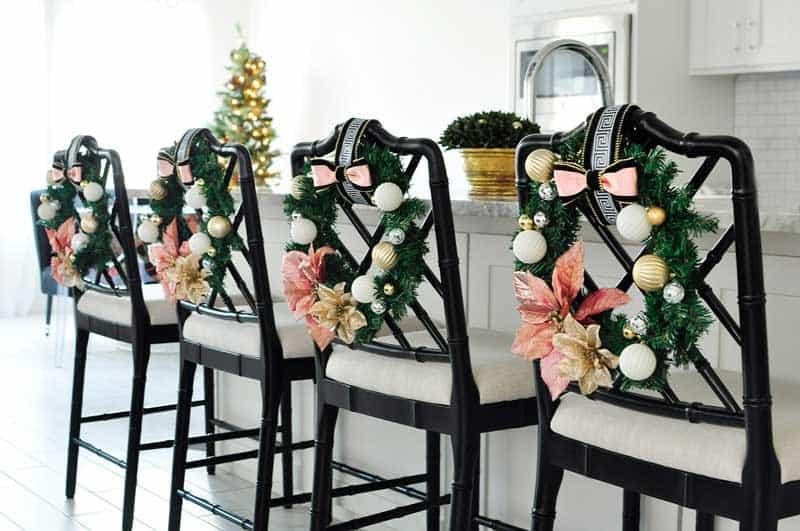 bar stool christmas wreath idea