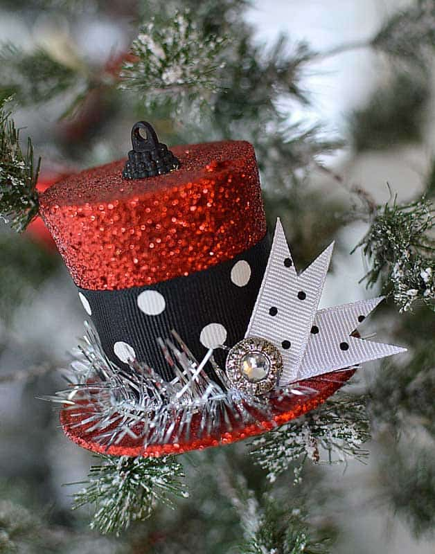 red hat glittery ornaments