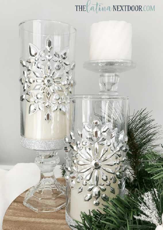 easy Christmas crafts: dollar tree christmas candleholders
