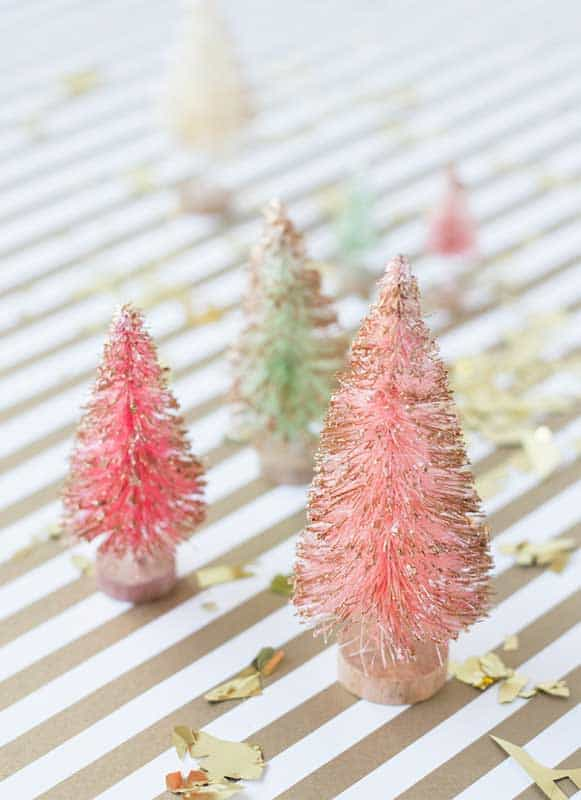easy Christmas crafts: gold dipped bottle brush trees