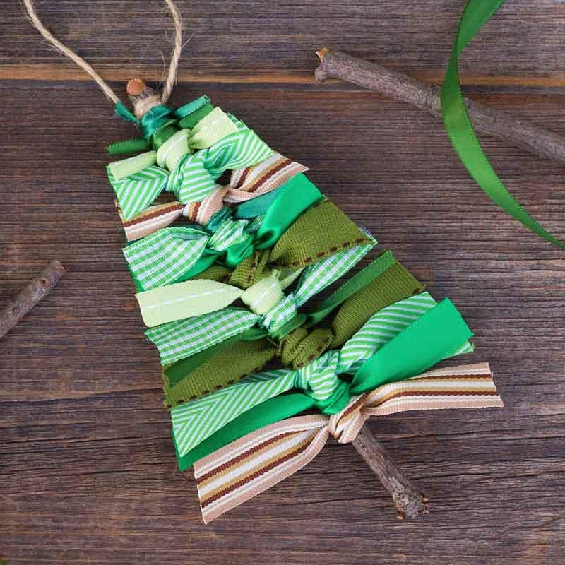 twig and ribbon christmas tree shaped ornaments