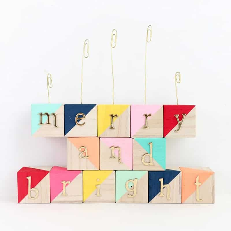 color block ABC blocks with holiday message