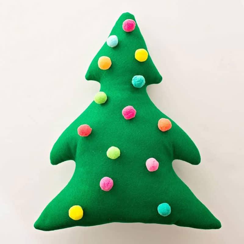 Christmas tree pillow with pom poms
