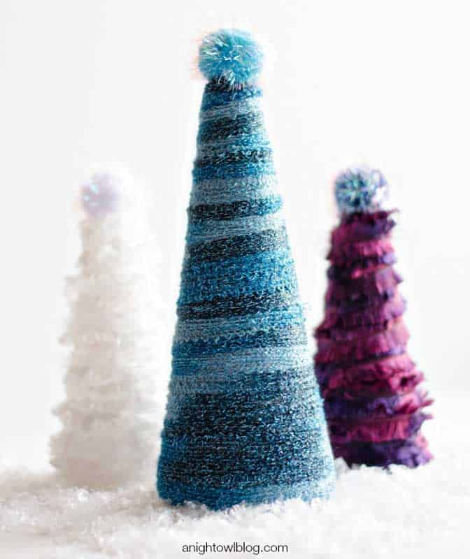 yarn wrapped tabletop Christmas trees