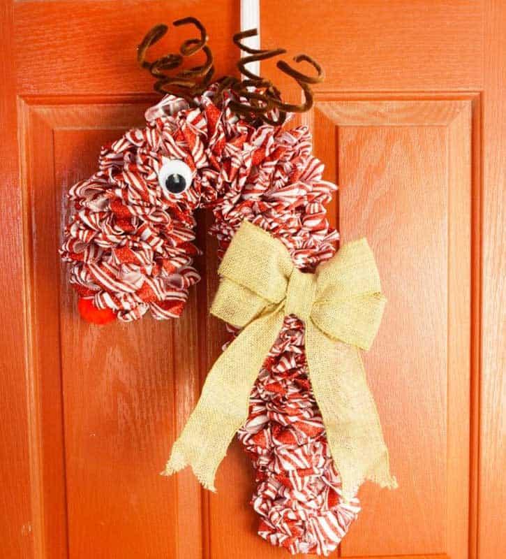 candy cane ribbon door wreath