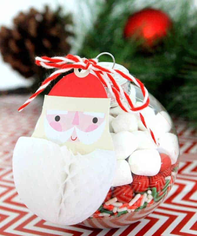 easy Christmas crafts: hot chocolate bomb ornament