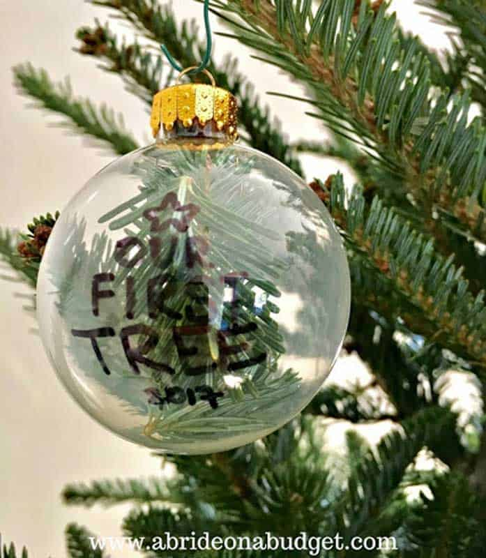 easy Christmas crafts: our first tree spruce sprig ornament